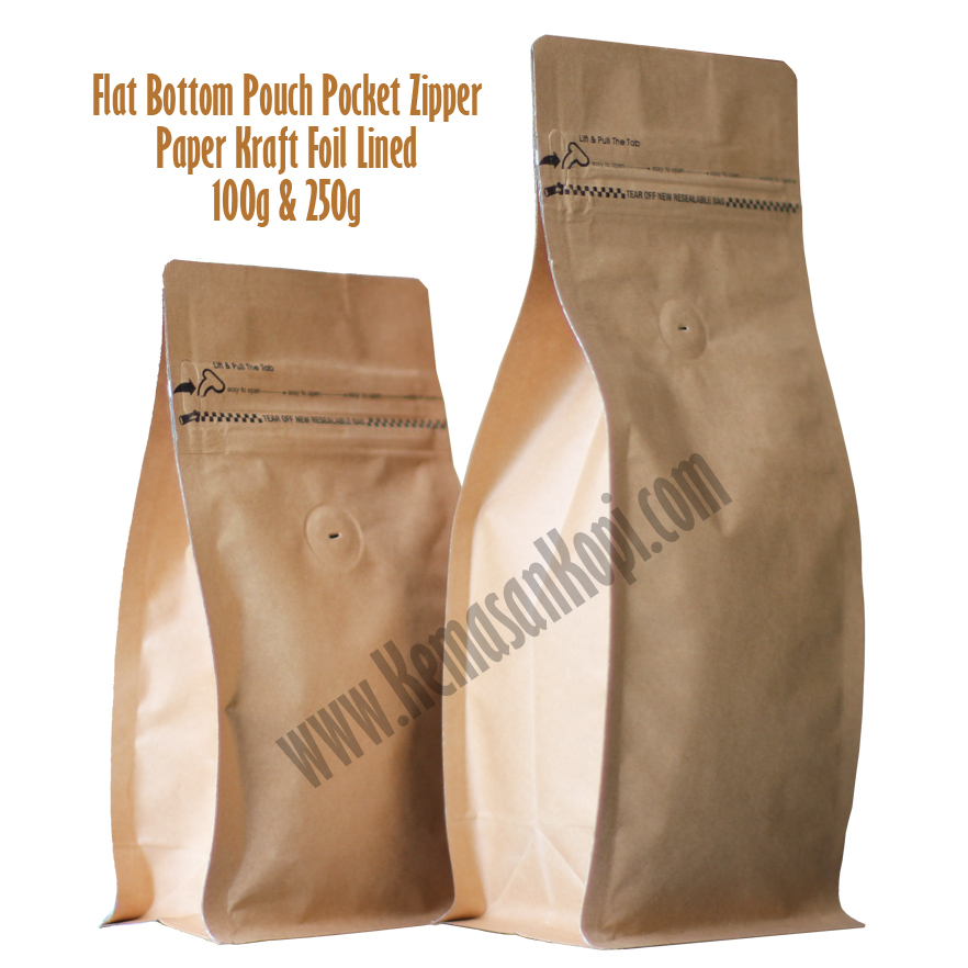 FBP 100g dan 250g pocket zipper paper kraft